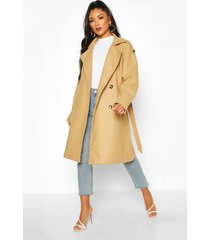 belted wool look double breasted trench coat, camel