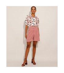 bermuda alfaiataria com bolsos cintura super alta + cinto rosê