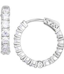 cubic zirconia small hoop earrings in fine silver plate