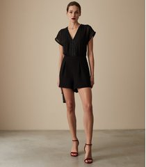 reiss arlo - embellished playsuit in black, womens, size 10