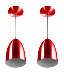 kit 2 lustre pendente luminária cone de alumínio cereja