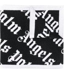 palm angels jacquard multi-logo scarf - black