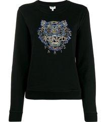 kenzo tiger hand-embroidered sweatshirt - black