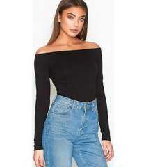 nly trend off duty shoulder top långärmade toppar svart
