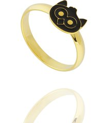 anel dona diva semi joias corujinha dourado