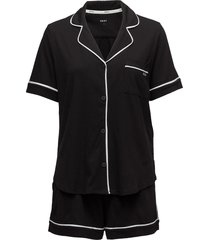 dkny new signature s/s top & boxer pj pyjamas svart dkny homewear