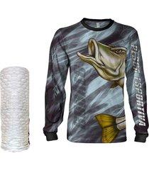 camisa  máscara pesca quisty robalo arisco preto proteção uv dryfit infantil/adulto - camiseta de pesca quisty