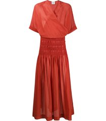 alysi elasticated panel wrap-style front dress - orange