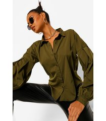 geweven blouse oversized mouwen, khaki