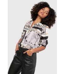 camisa blanco-negro-multicolor paris district
