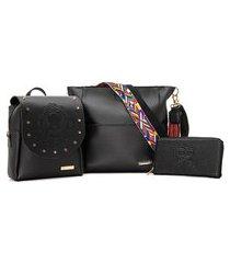 kit bolsa + mini mochila + carteira alice monteiro princess - preto