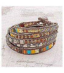 glass beaded wrap bracelet, 'harmony shore' (guatemala)