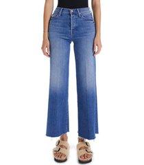 women's mother the tomcat roller frayed hem wide leg jeans, size 30 - blue