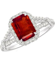 pure 925 silver red garnet 14k white gold finish halo style women's ring