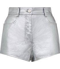 fendi fendi prints on metallic denim shorts - silver