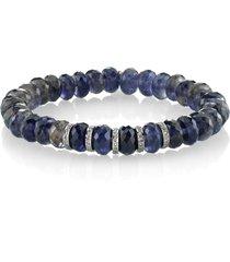 women's sheryl lowe 5-rondelle iolite & diamond bracelet