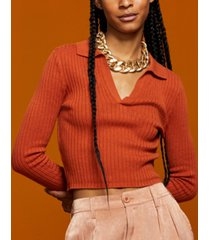 and now this women's ribbed polo sweater