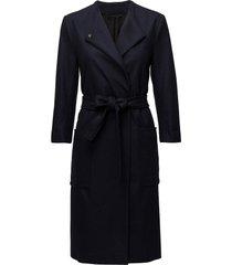blair belt coat wollen jas lange jas blauw filippa k