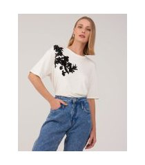 amaro feminino t-shirt viscolycra silk flocado, off-white