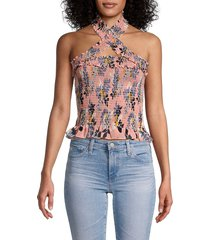 cinq à sept women's country fern donya floral silk top - pink multi - size m