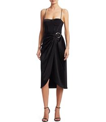 crepe satin bustier wrap dress