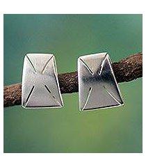 sterling silver button earrings, 'patience' (ghana)