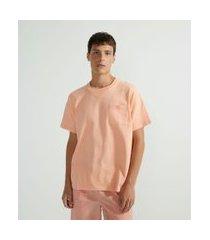 camiseta manga curta lisa com bolso | blue steel | rosa | g