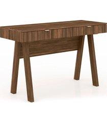 mesa para escritório 2 gavetas me4128 tecno mobili nogal e pés nogal videira - tricae