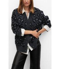 mango women's leopard print cardigan