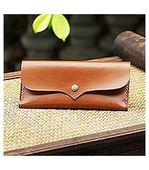 leather wallet, 'simple traveler in chestnut' (thailand)