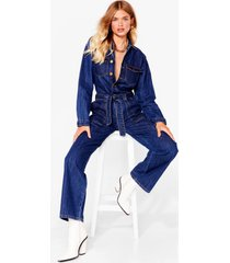 womens tie waist your time relaxed denim boilersuit - blue