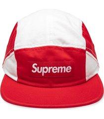 supreme contrast panel camp cap - red