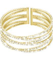 bracciale bangle in metallo dorato e cristalli per donna