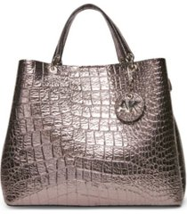 anne klein triple compartment croco satchel