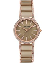 anne klein women's khaki ceramic and rose gold-tone bracelet watch 34mm
