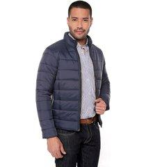 chaqueta azul oscura preppy abullonada