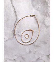 bransoletka + pierścionek + choker - perły