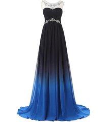 lemai bateau gradient chiffon black blue long prom evening dresses plus size ...
