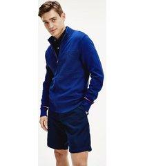 tommy hilfiger men's mix knit zip cardigan blue ink - xs