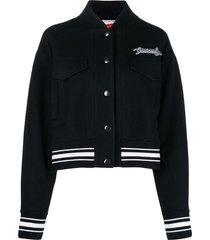 givenchy logo patch varsity jacket - black