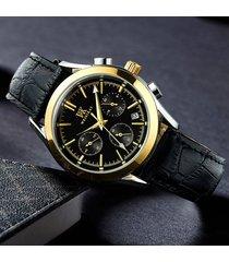 reloj para hombre quartz real nail scale leather atmosphere