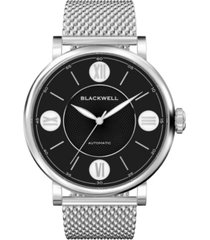 blackwell black dial with silver tone steel and silver tone steel mesh watch 44 mm