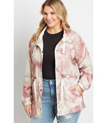 maurices plus size womens pink tie dye cinch waist windbreaker