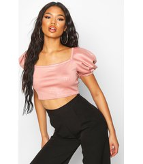 extreme puff sleeve crop top, pink