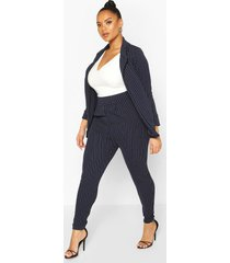 plus pinstripe tailored blazer trouser co-ord, navy