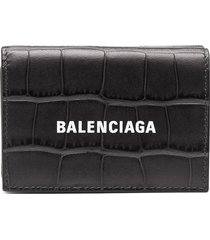 balenciaga cash crocodile-embossed leather wallet - black