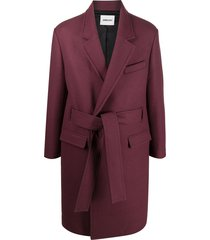 ambush belted single-breasted coat - red