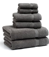 kassatex mateo 6-piece bath towel, hand towel & washcloth set, size one size - grey