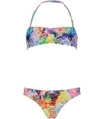 shiwi bikini bandeau tiger floral