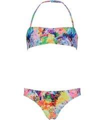 shiwi bikini bandeau tiger floral wit